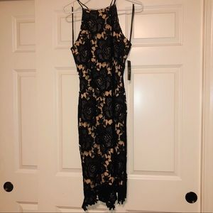 Black Lace Overlay LuLus Dress